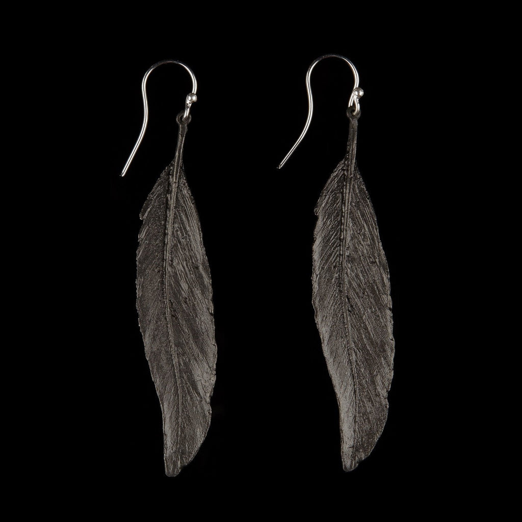 Feather Earring - Long Single Wire Gunmetal