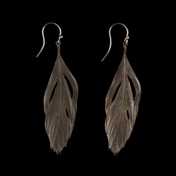 Feather Earring - Cut Out Wire Gunmetal
