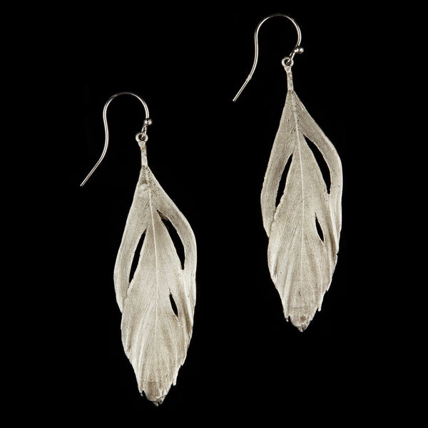 Feather Earring - Cut Out Wire Silver