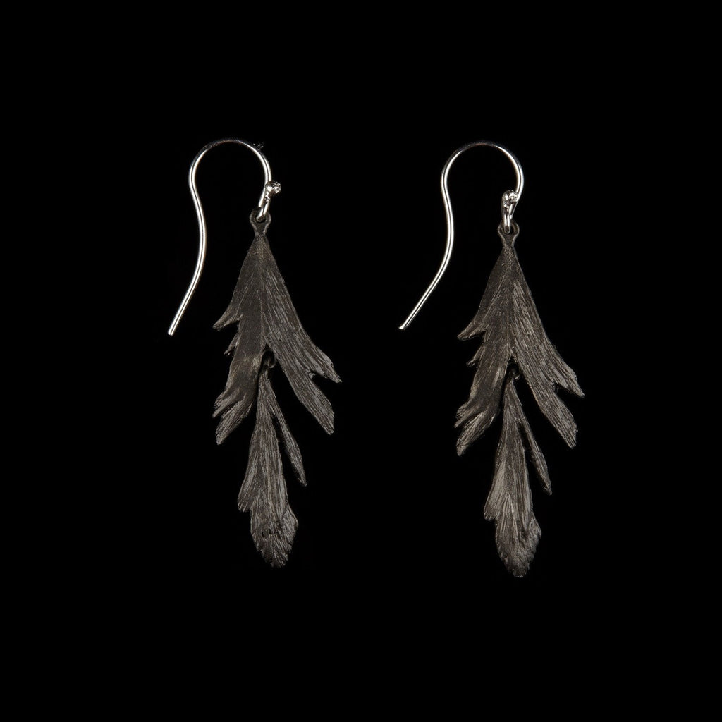 Feather Earring - Dangle Wire Gunmetal