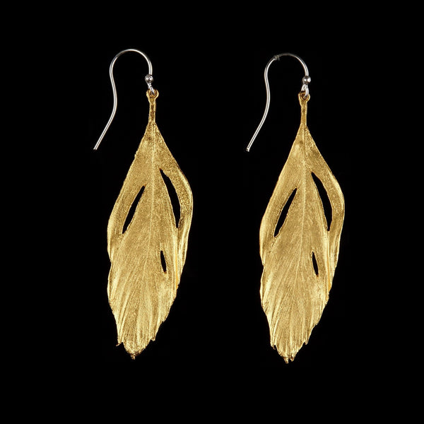 Feather Earring - Cut out Wire Gold