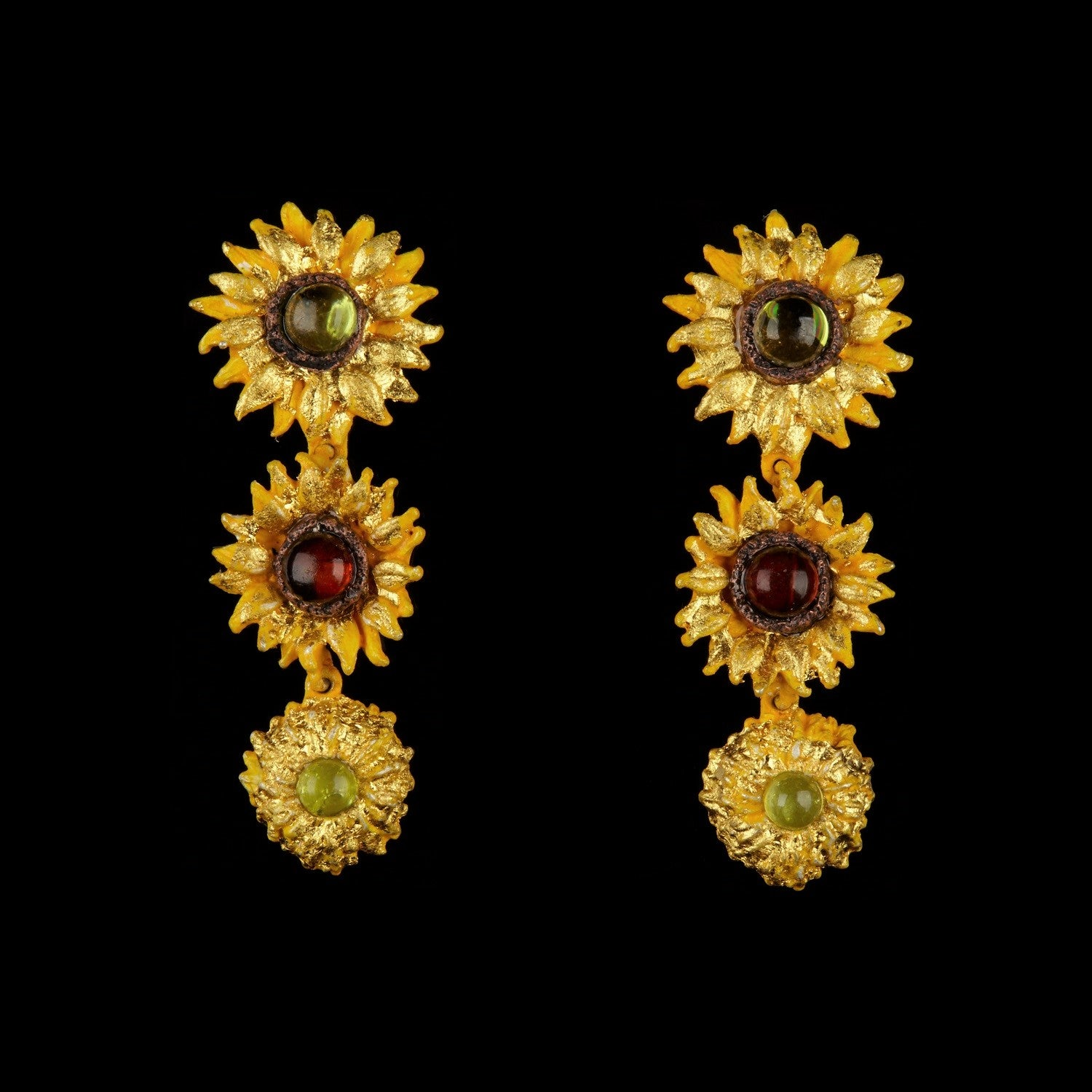 Van Gogh Sunflower Earrings - Drop Post
