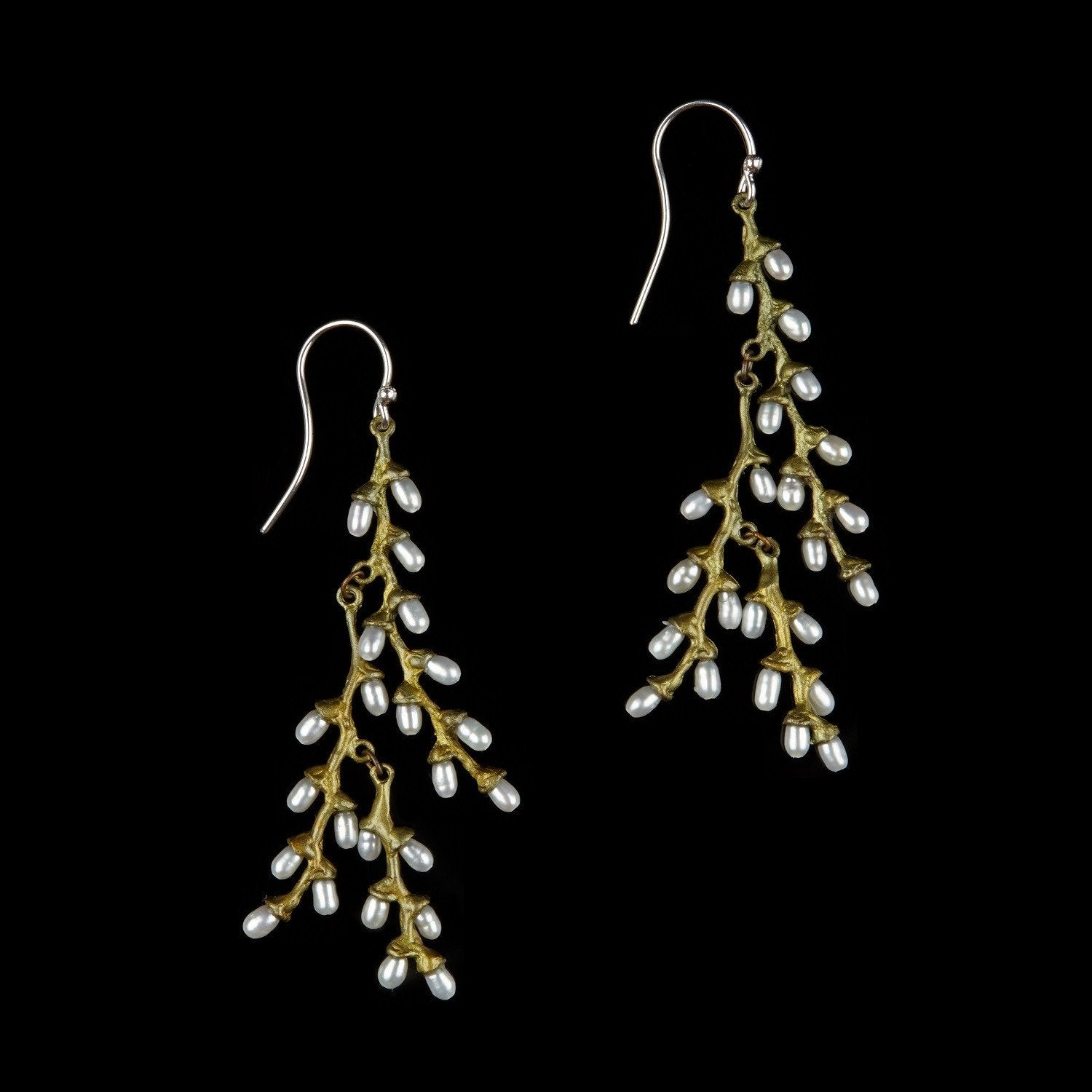 Rice Earrings - Multi Pearl Long Wire