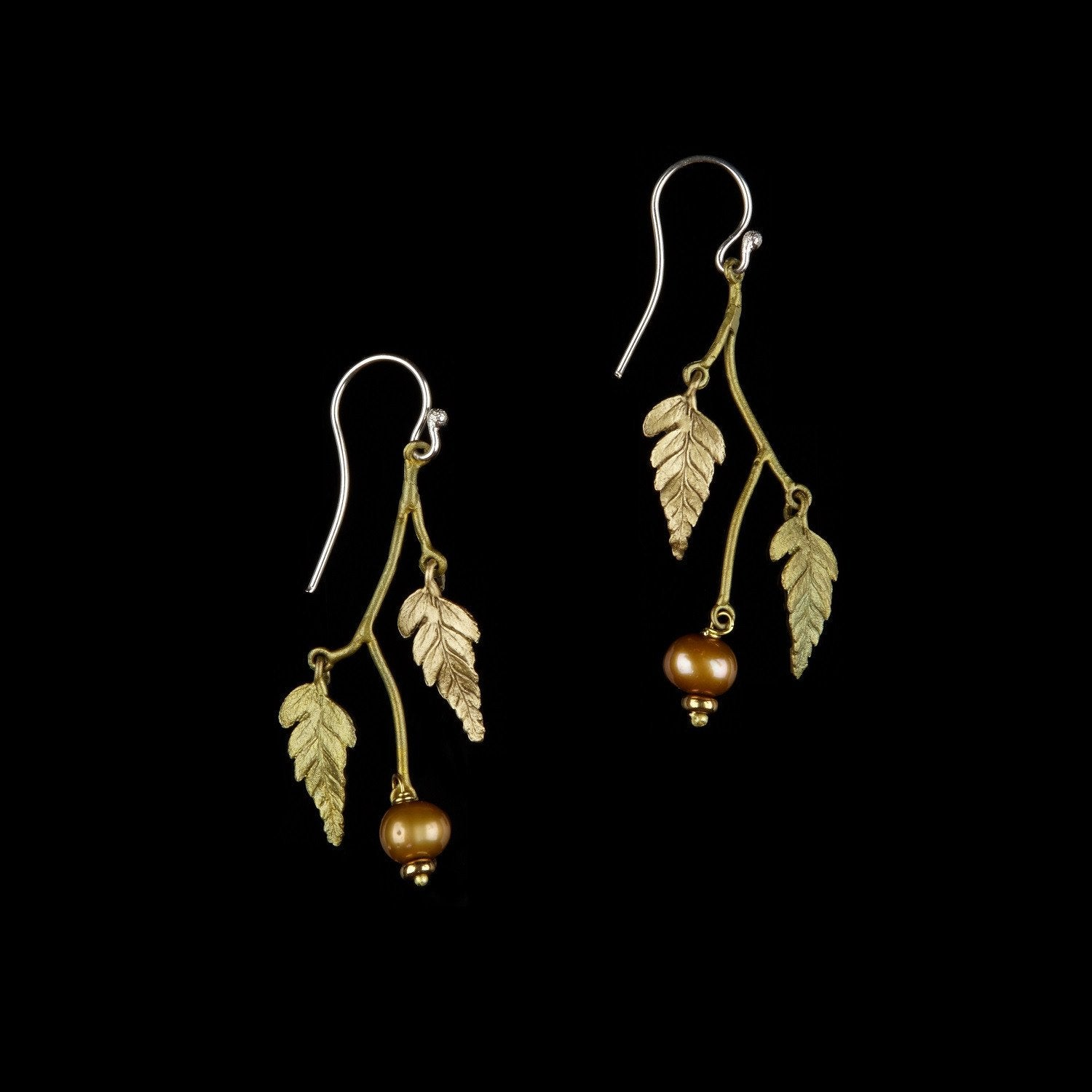Fern Earrings - Double Leaf Dangle with Pearl