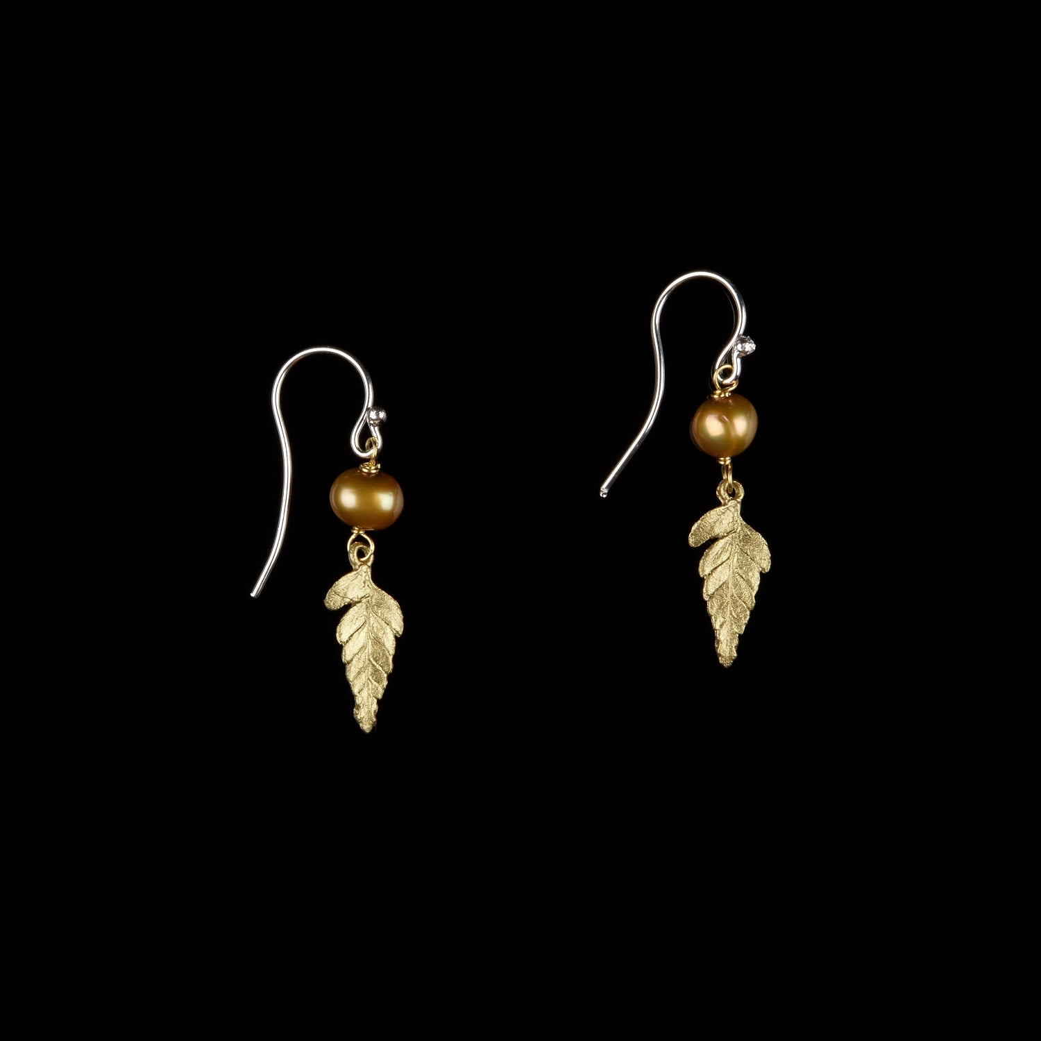 Fern Earrings - Small Single Leaf with Pearl