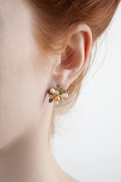 Orange Blossom Earrings - Flower Button Post
