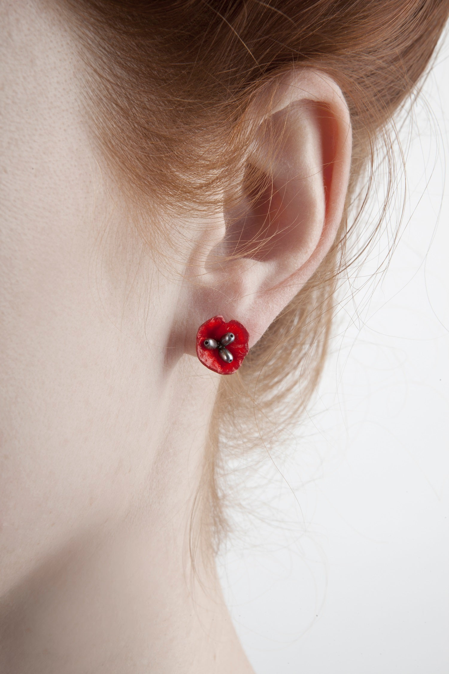 Red Poppy Earrings - Post