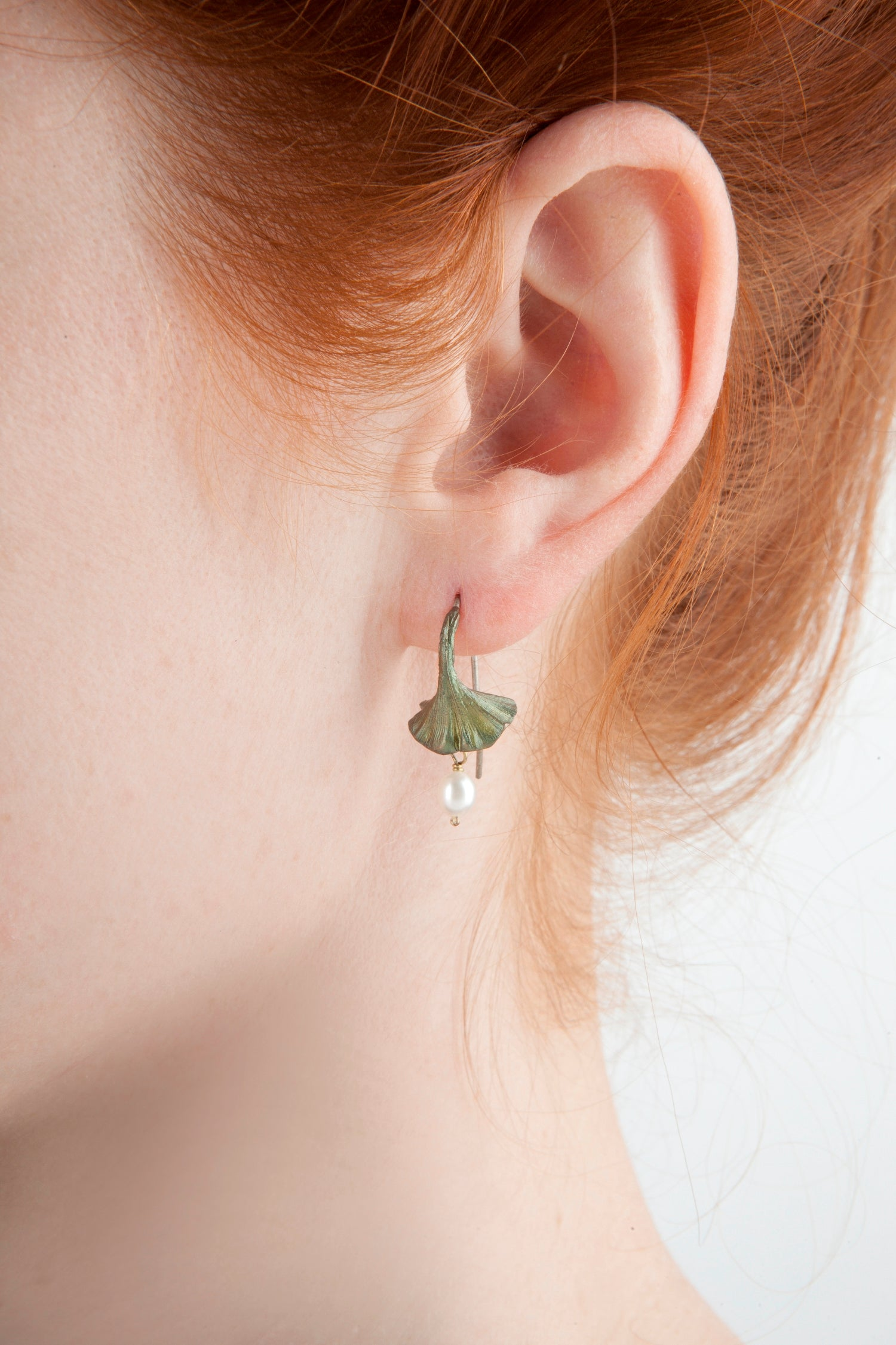 Ginkgo Earrings - Pearl Drop