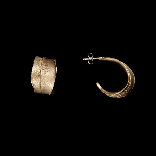 Feather Earring - Hoop Post Gold