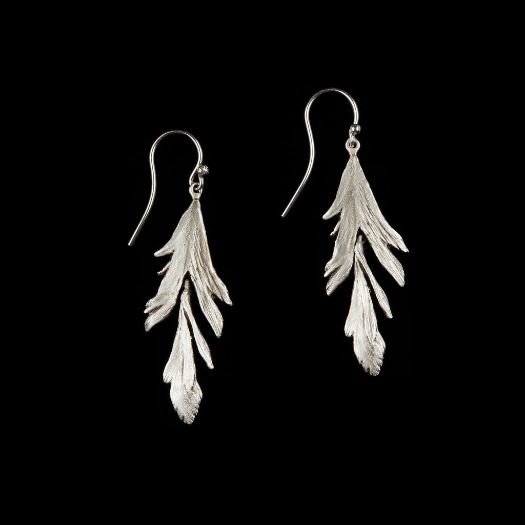 Feather Earring - Dangle Wire Silver