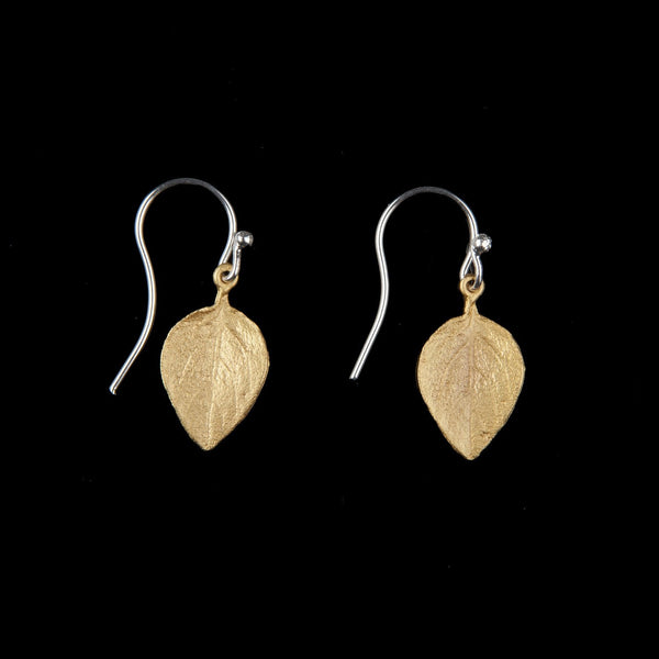 Sweet Basil Earrings - Small Gold Leaf