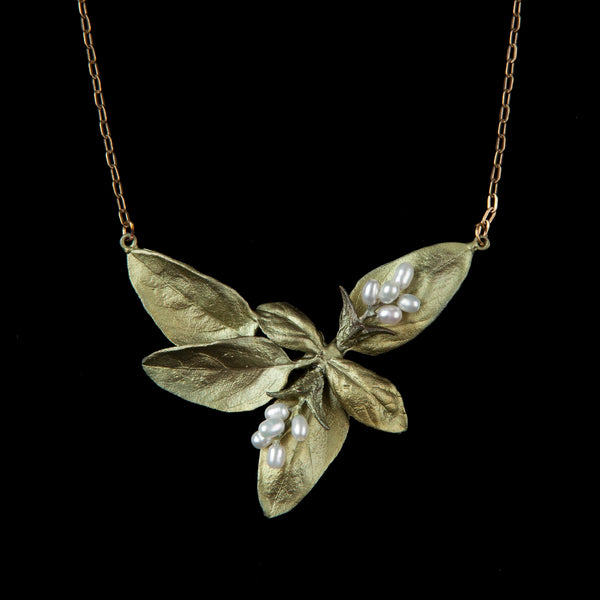 Sweet Basil Pendant - Large Leaf Pearls