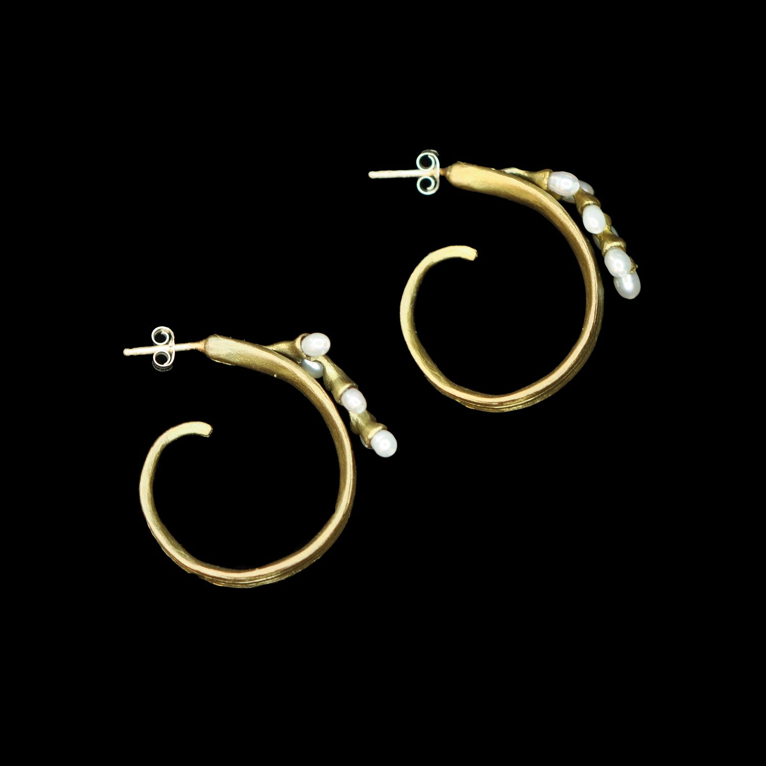 Rice Earrings - Pearl Hoop Post