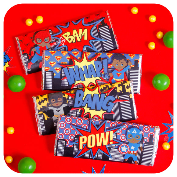 African American Superhero Candy Bar Wrappers Printable PDF