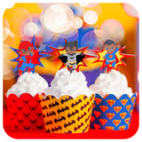 African American Superhero Cupcake Wrappers and Toppers Printable PDF