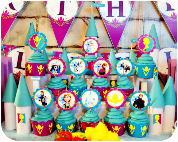 Frozen Coronation Day Cupcake Wrappers and Toppers