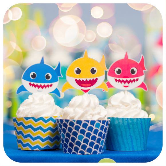 Baby Shark Cupcake Wrappers and Toppers Editable Printable PDF
