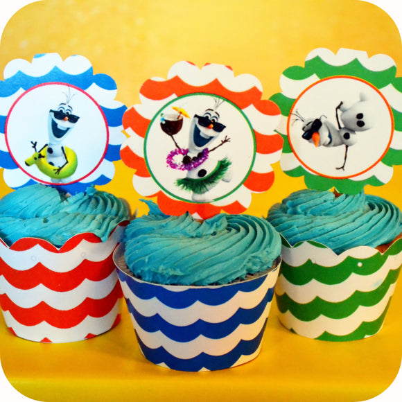 Frozen Olaf Summer Cupcake Wrappers and Toppers