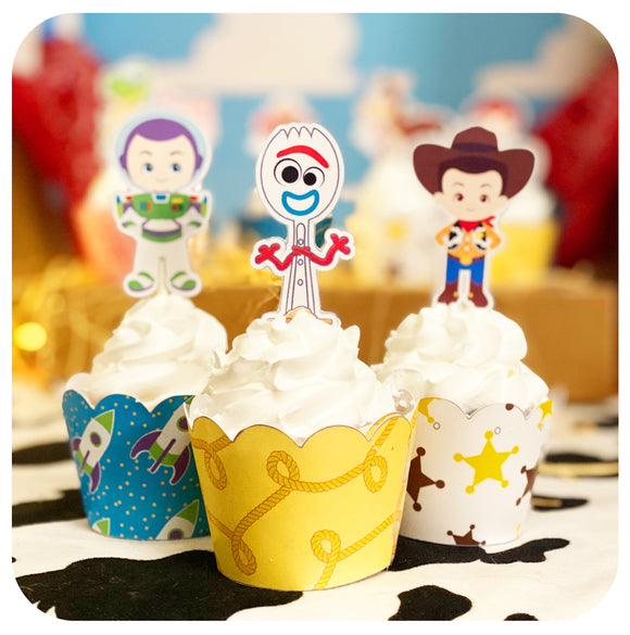 Toy Story Cupcake Wrappers and Toppers Editable Printable PDF