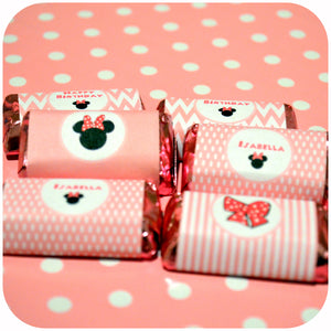 Minnie Mouse Pink Miniature Candy Bar Wrappers