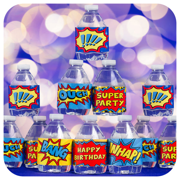 Superhero  Water Bottle Wrappers