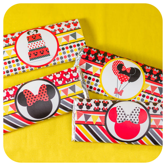 Minnie Mouse Red Candy Bar Wrappers
