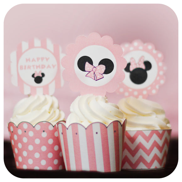 Minnie Mouse Pink Cupcake Toppers and Wrappers