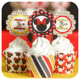 Minnie Mouse Red Cupcake Wrappers and Toppers