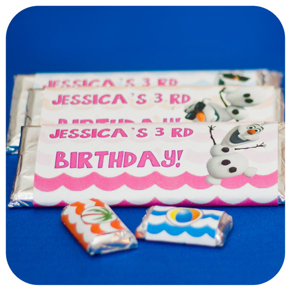 Frozen Girly Olaf Summer Candy Bar  Wrappers