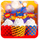 Superhero Cupcake Wrappers and Toppers Printable PDF