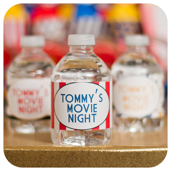 Movie Night Water Bottle Wrappers