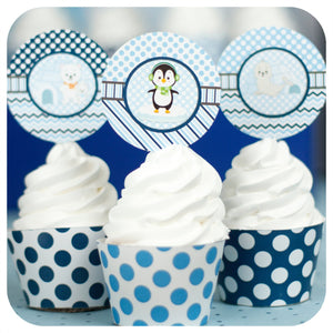 Winter Onederland Cupcake Wrappers  & Toppers Printable PDF