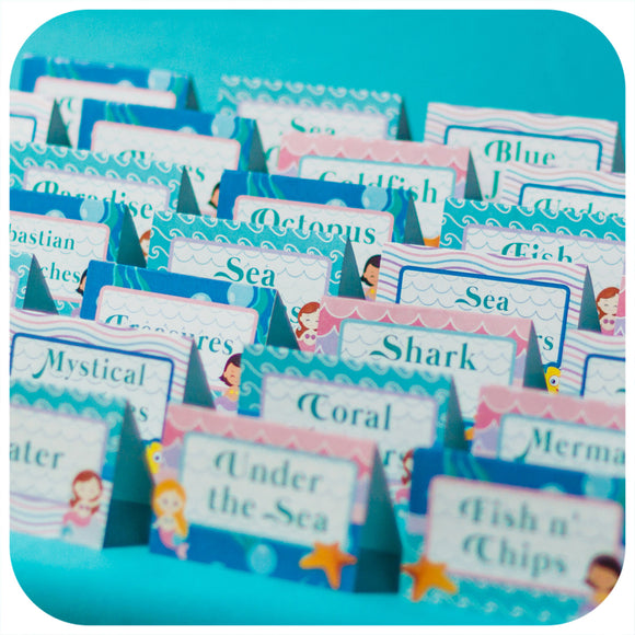 Mermaid Food Tent Labels Printable PDF