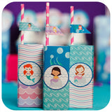 Mermaid Juice Box Wrappers Printable PDF