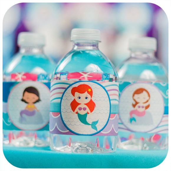 Mermaid Water Bottle Wrappers Printable PDF