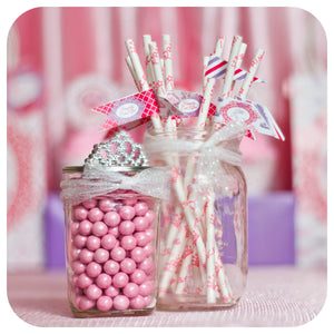 Pretty Princess Straw Flags