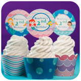 Mermaid Cupcake Wrappers and Toppers Printable PDF