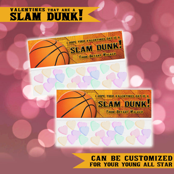 Basketball Slam Dunk Valentines