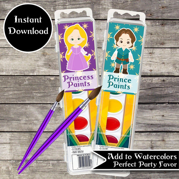 Tangled Prince and Princess Paint Tags Printable PDF