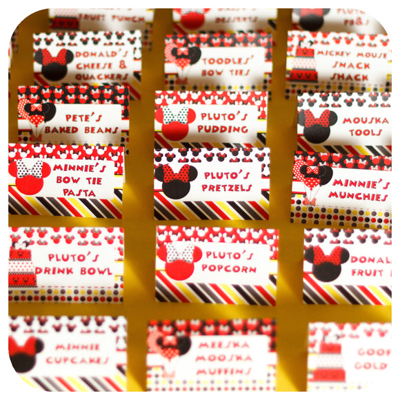 Minnie Mouse Red Food Tent Labels