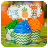 Hawaiian Luau Cupcake Wrappers and Toppers Printable PDF