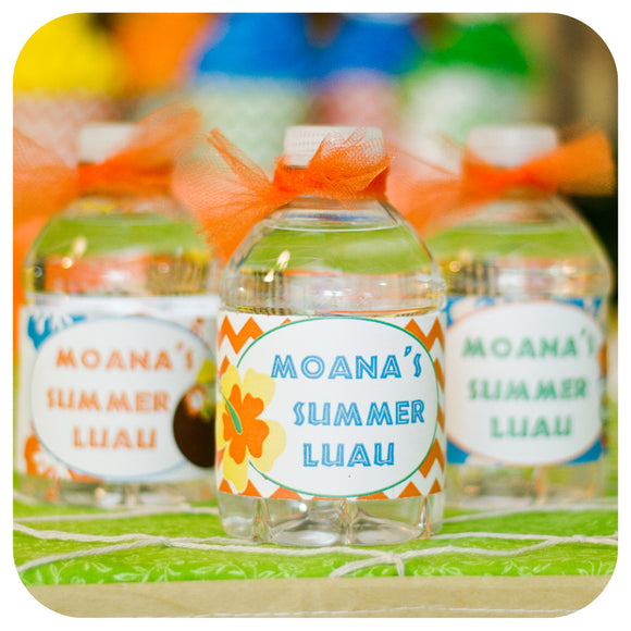 Hawaiian Luau Water Bottle Wrappers  Printable PDF