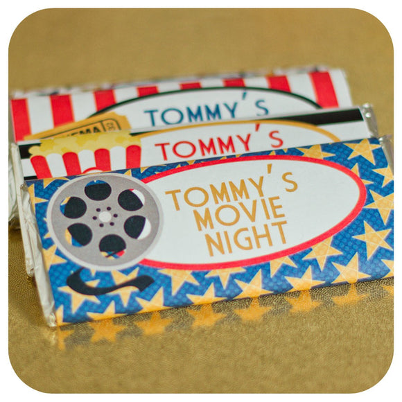 Movie Night Candy Bar Wrappers Printable PDF