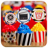 Movie Night Cupcake Wrappers and Toppers Printable PDF