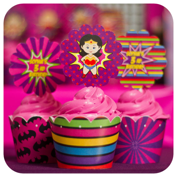 Supergirl Cupcake Wrappers  & Toppers Printable PDF