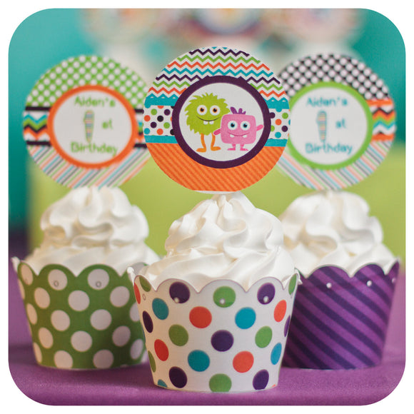 Little Monsters Cupcake Wrappers and Toppers Printable PDF