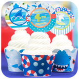 Shark Cupcake Wrappers  & Toppers Printable PDF