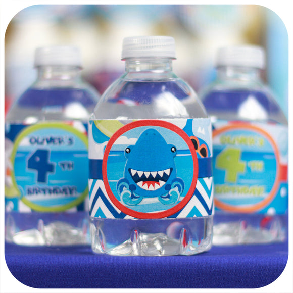 Shark Water Bottle Wrappers Printable PDF