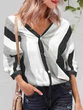 Load image into Gallery viewer, V-Neck Wide Striped Shirt Female Fashion Half Sleeve Blouses