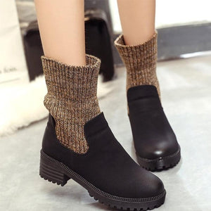 Round Head Cuffs Thick Boots